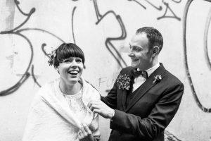 Dalia & Tomas posing in black and white shot, taken by destination wedding photographer Tomas